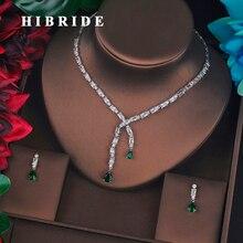 HIBRIDE الفاخرة تصميم الأخضر صغير كامل مكعب الزركون الزفاف طقم مجوهرات موضة قطرة القرط قلادة اكسسوارات الزفاف N 687