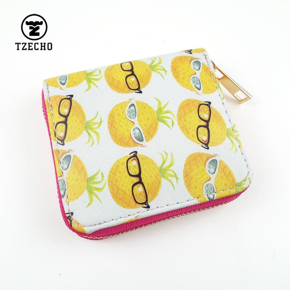 TZECHO Zipper Around Womens Wallets Leather Print Pineapple Girls Short Money Purses Mini Coin Pocket Small Card Holder Bag