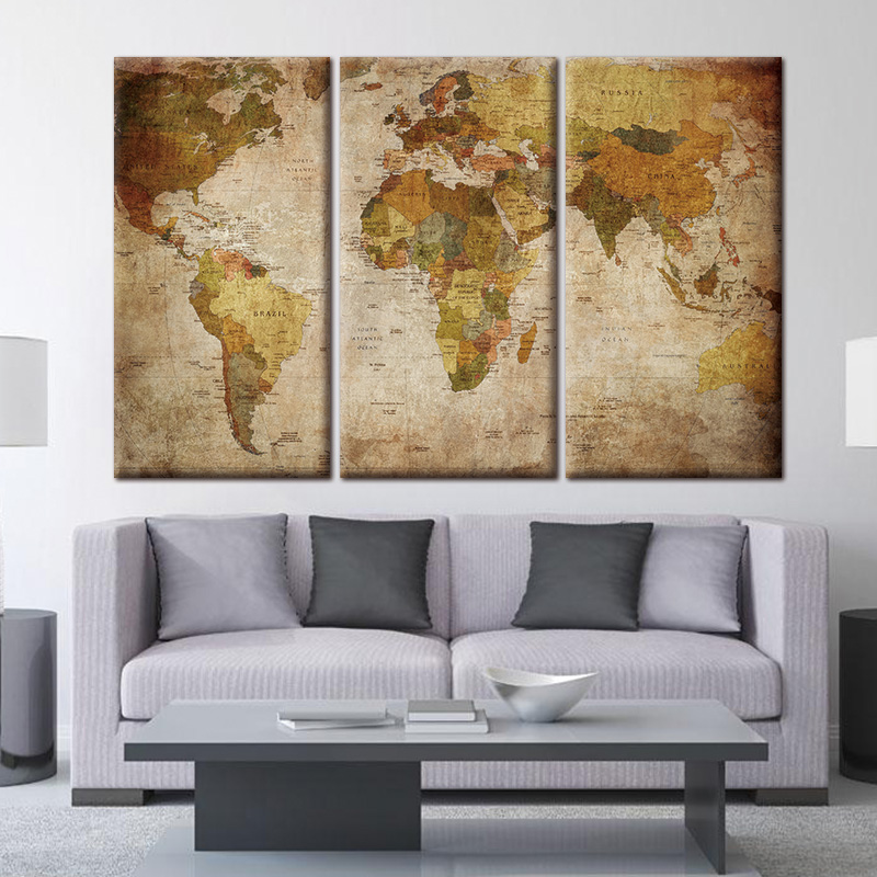 World Map Canvas Painting Oil Print On Home Decor Rhnanacorner: Canvas Home Decor At Home Improvement Advice