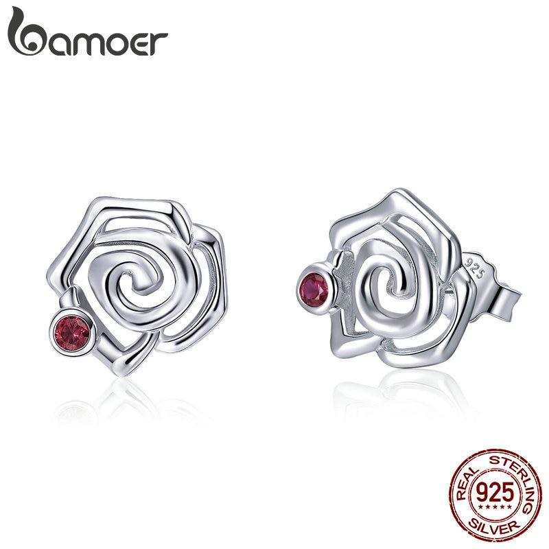 BAMOER Genuine 925 Sterling Silver Romantic Rose Flower Stud Earrings for Women Pink CZ Fine Sterling Silver Jewelry 2018 BSE006 цена