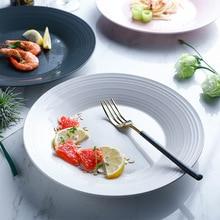 2019 New Nordic Solid Round Tray Ceramic Plate Breakfast Dinner tableware steak dish fruit salad dessert plate decorative plate lototo tableware tausi creative dish tray plate thick round fruit plate ceramic flat white ink