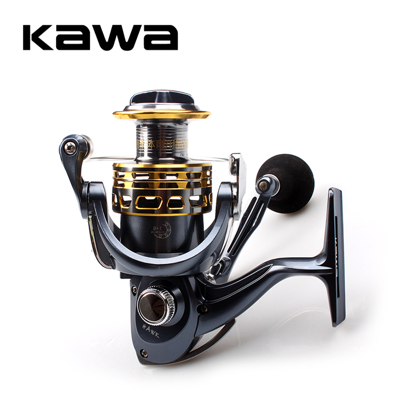 2018 KAWA Fishing Spinning Reel Gear Ratio 5.2:1 High Quality 9+1 Bearings Aluminum Alloy Spinning Reel Free Shipping new tsurinoya spinning fishing reel 10 ball bearings 5 2 1 ratio lightweight reel moulinet free shipping reel 175g weight fs800