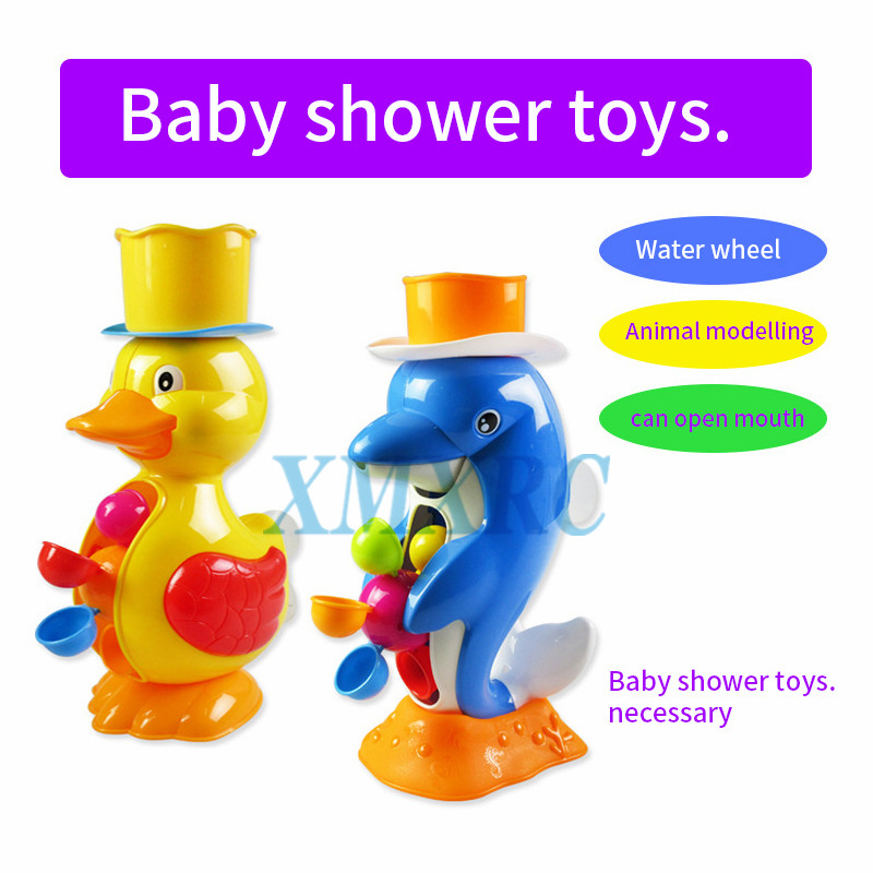 XMXRC.Kids Shower Bath Toys Cute Duck Waterwheel Dolphin Toys Baby Faucet Bathing Water Spraying Tool Wheel Type Dabbling Toy