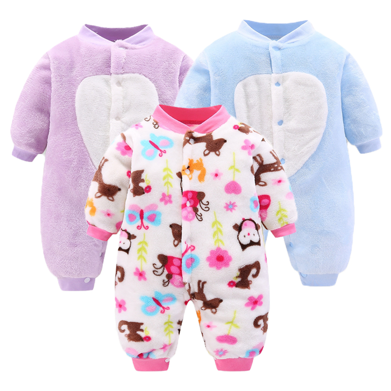 2019 Autumn Warm Baby Rompers Cotton Baby Boys Girls Clothes Cartoon Flannel Overalls for Children Infant Jumpsuit Roupa de bebe