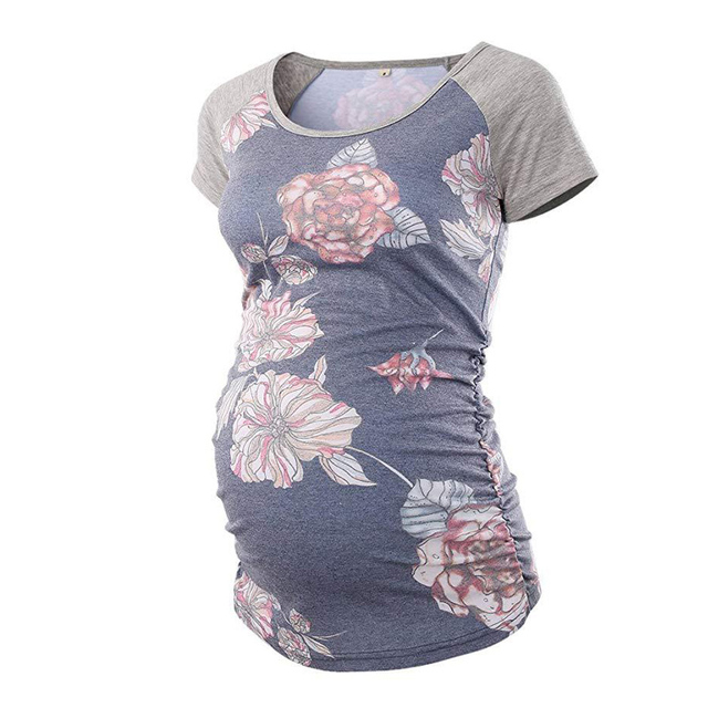 Women Pregnancy T-shirt Maternity Tunic Tops Mama Clothes Flattering Side Short Sleeve Scoop Neck Pregnancy