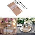 50pcs/lot Natural Jute Lace Pockets Rustic Wedding Tableware Packaging Fork & Knife Burlap Holder Cutlery Pocket YL678957