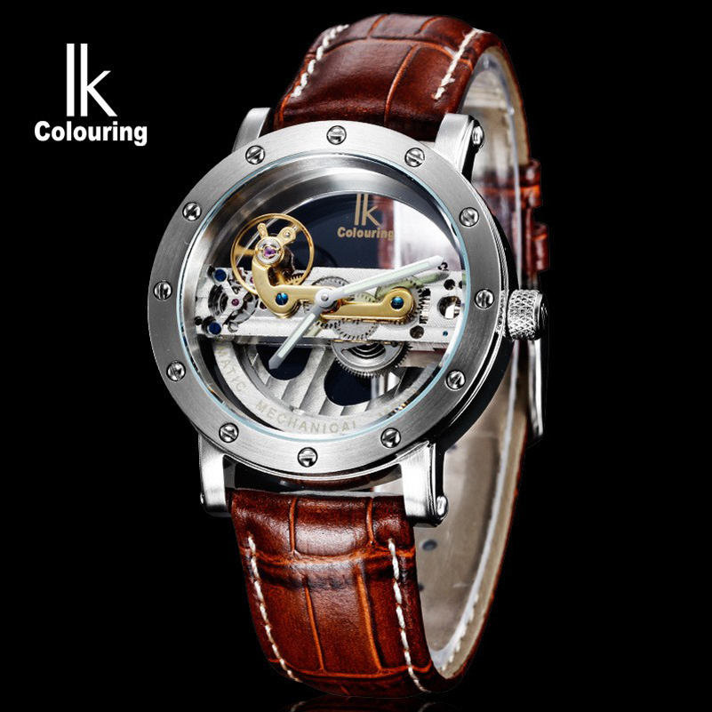 Luxury Mechanical Men Waterproof Watch Top Brand IK Fashion Skeleton Automatic font b Leather b font