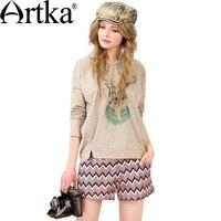 Artka Women S Autumn New Loose Style Character Printed Hoodie Casual Drop Shoulder Sleeve Split Hem