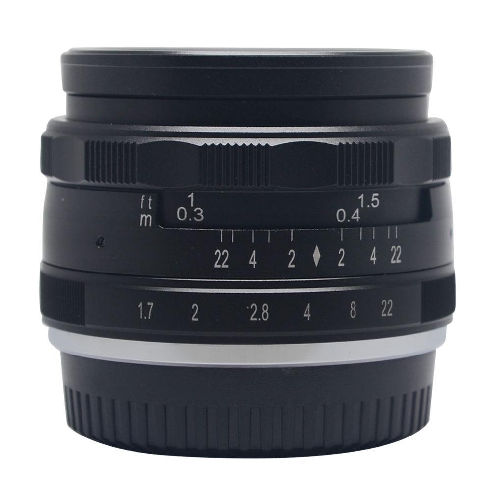 35mm f1.7 Aperture Manual Focus Lens APS-C for eosm nikon1 m43 gf6 sony nex7 Fujifilm X-A1/A2 XE1 XM1 XT1 XT10 camera kaxinda metal 35mm f 1 7 lens for m4 3 nex fx eosm n1 p q e1 aps c mirrorless