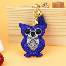 Fashion Car Play 14 Colors Full Crystal Rhinestone Owl Key Chain Golden Chain Keychain Bag Car Hanging Pendant Jewelry 6C2288(China)