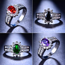 Cute Male Female Red Green Purple Black Stone Ring Vintage 925 Silver Wedding Rings Band Promise Engagement Ring New Year Gifts(China)