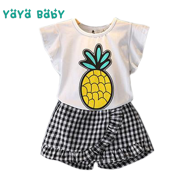 2018 New Summer Girls Clothes Casual Baby Children Clothing Set Cartoon Pineapple Shirts Plaid Shorts 2pcs Kids Suits for Girls new 2016 summer cartoon children clothing set plaid kids shorts t shirts 2pcs boys sport suit set fit for 2 7year y01