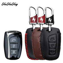 цена на KUKAKEY Genuine Leather Remote Key Cover Case For Hyundai Santa Fe 2013 For Hyundai Grand Santa Fe 2015 Car Styling