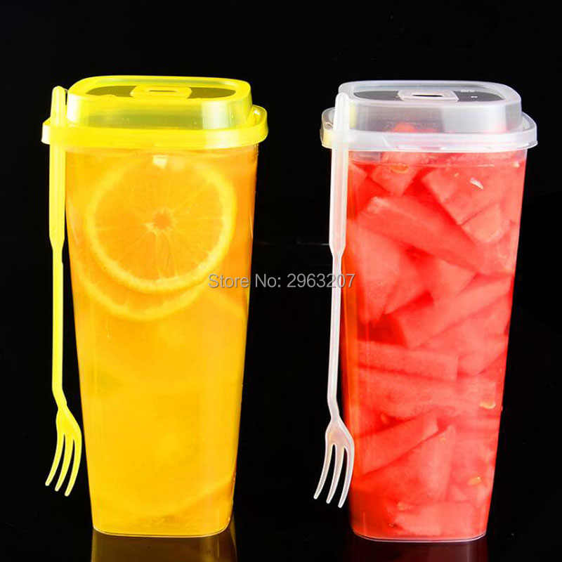 500 sets 960ml disposable cups thick transparent plastic drink cups tea cup with lid juice cup with fork