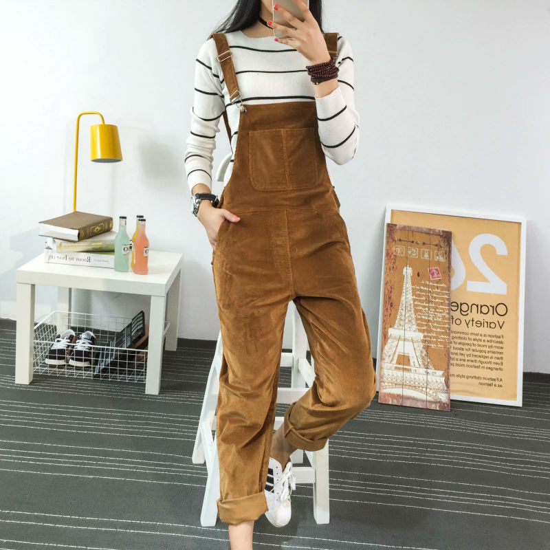 2019 Spring Fashion Regular Corduroy Womens Rompers Pockets Full Length Overalls For Women Bodysuit Rompers Womens   Jumpsuit