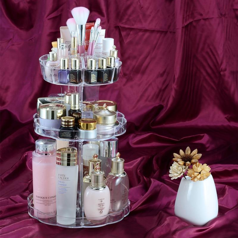 New Clear 360 Degree Rotating Make Up Organizer Adjustable Cosmetic Nail Polish Shelf Flower Shape Cheaper