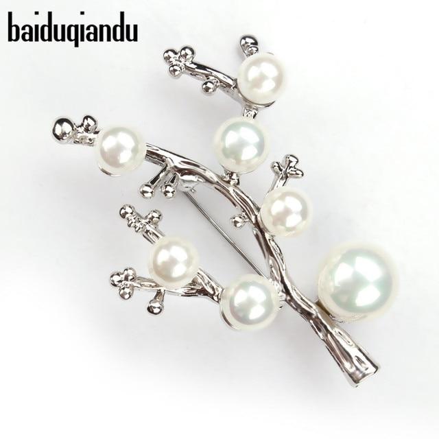 baiduqiandu Brand Shinning Silver Color Simulated Pearl Branch Brooch Pins for W