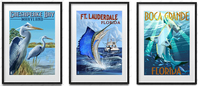 vintage posters mural prints seaside scenery animals sea bird fishes abstract paintings carton pictures modern art