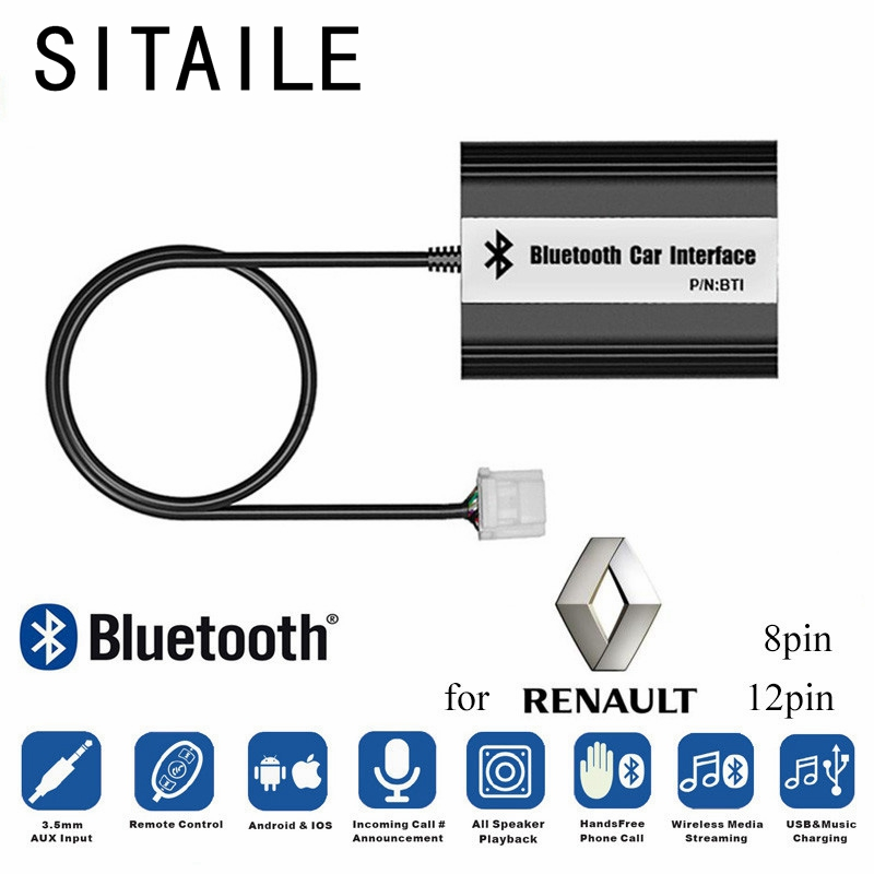 SITAILE Car MP3 Music Players Bluetooth A2DP Adapter for Renault 8pin 12pin Clio Avantime Master Modus Scenic Traffic Interface car usb sd aux adapter digital music changer mp3 converter for volkswagen beetle 2009 2011 fits select oem radios