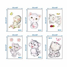 Cartoon Cute Cat  Butterfly Wall Stickers Cherry blossoms Kids Room Home Decoration Decorative Sticker
