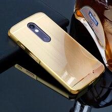 Для Motorola Moto X Force/Droid turbo 2 Чехол антидетонационных Корпус Роскошные Покрытие металла Рамки и щеткой PC задняя крышка телефона Coque