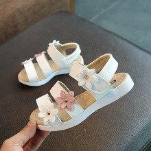 Summer Style Children Sandals Girls Princess Beautiful Flower Shoes Kids Flat With Baby Roman Rubber