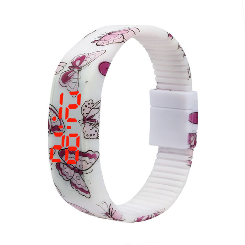 Watch Silicone Bracelet Digital Butterfly Ultra-Thin Girl Women Sports New-Design Print