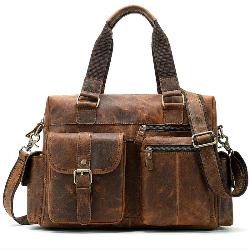100% Genuine Leather Messenger Bag Men Shoulder Bag Casual Male Briefcases Laptop Handbags Computer Leather Bags For Documents