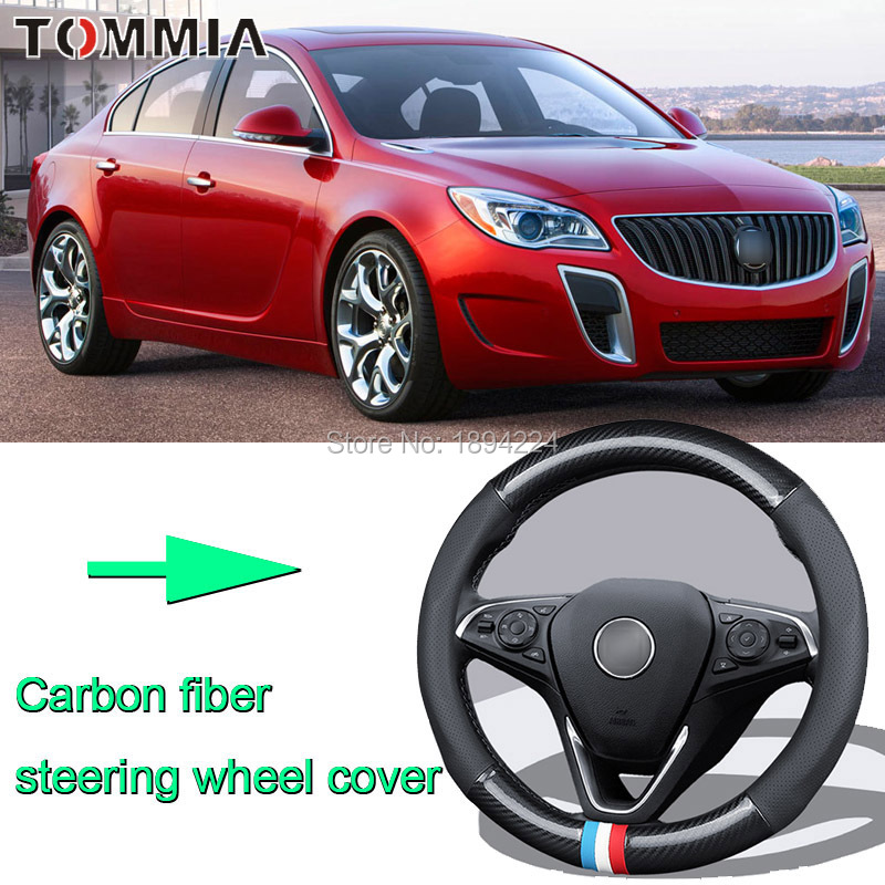 38CM Size M Rubber Carbon Fiber Leather Car Steering Wheel Cover Non-slip breathable For Buick Regal