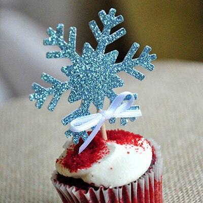 10Pcs Blue Snowflake Happy Birthday wedding Cake Topper Baby Shower ...