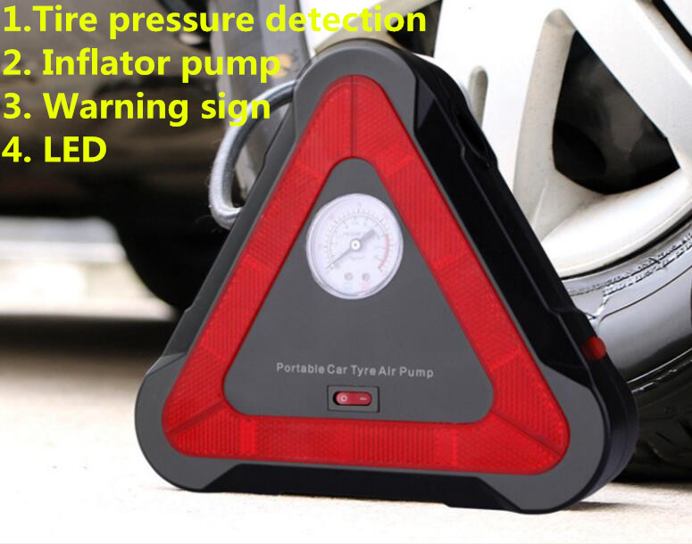 Factory direct multi function lighting warning sign three in one air pump car air pump free shipping