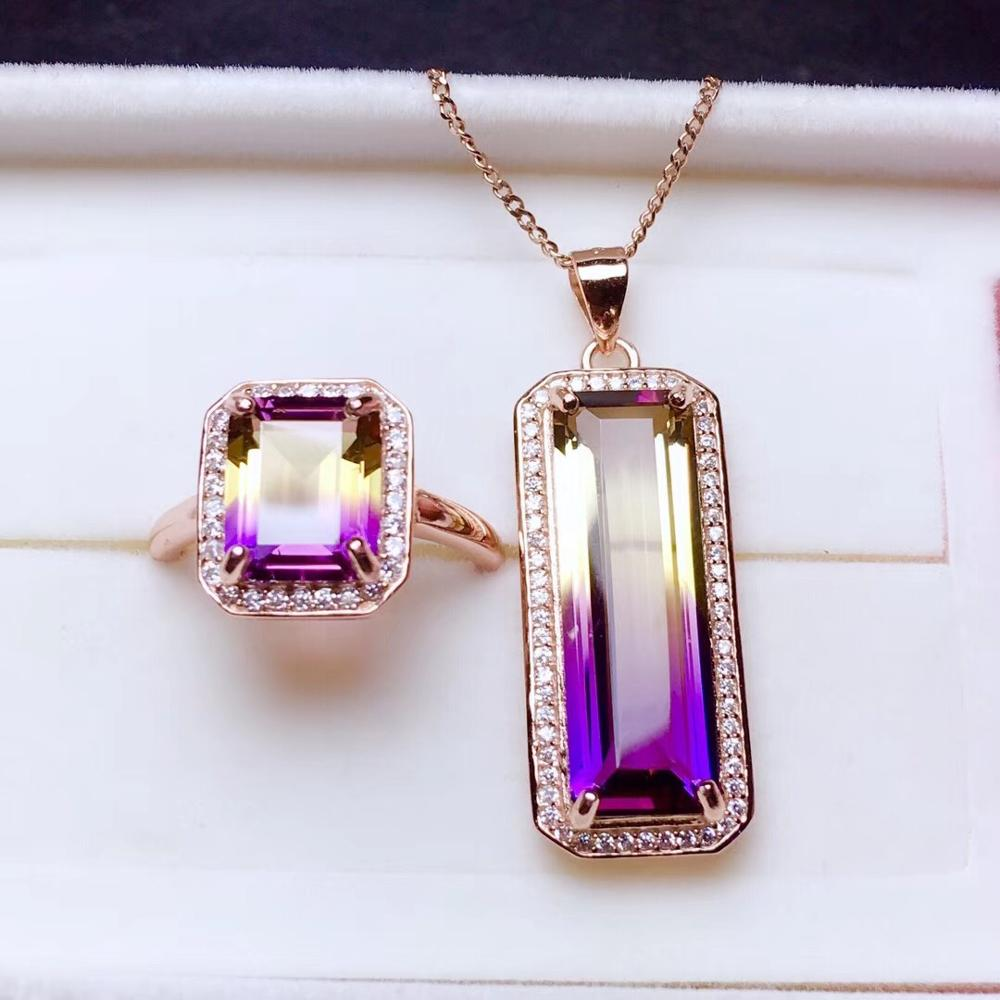 purple with little yellow gemstone Ring and necklace jewelry set for womenpurple with little yellow gemstone Ring and necklace jewelry set for women