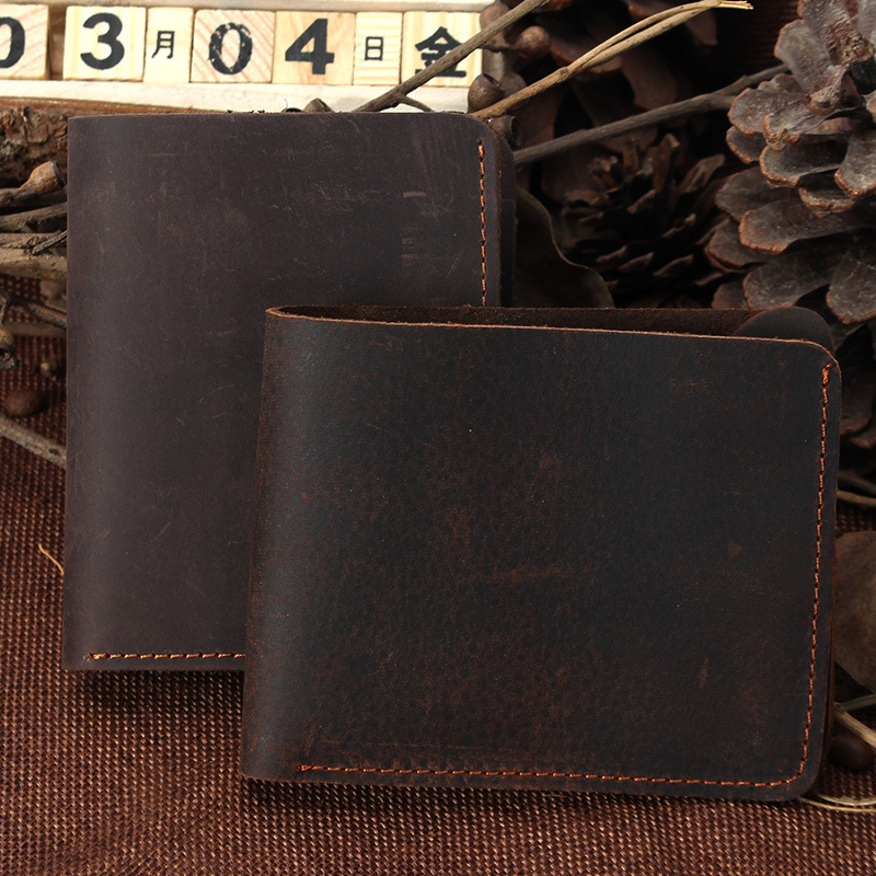 Handmade Vintage Crazy horse Genuine Leather Men Wallets Cowhide Money Clips Short Wallet Male Purse Brown Card Organizer #MD029 bvp luxury brand weave plain top grain cowhide leather designer daily men long wallets purse money organizer j50