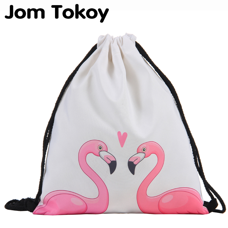 Jom Tokoy Drawstring Bag 3D Printing Flamingo Mochila Feminina Drawstring Backpack Women Daily Casual Girl's Knapsack 29032