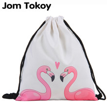 Jom Tokoy Drawstring Bag 3D Printing Flamingo Mochila Feminina Drawstring Backpack Women daily Casual Girl's knapsack 29032(China)