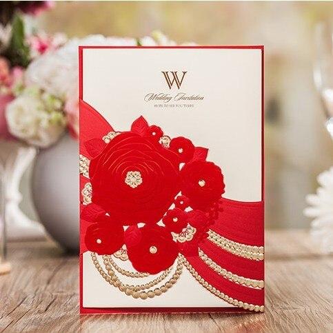 elegant red flower wedding card invitations 2016 laser cut birthday