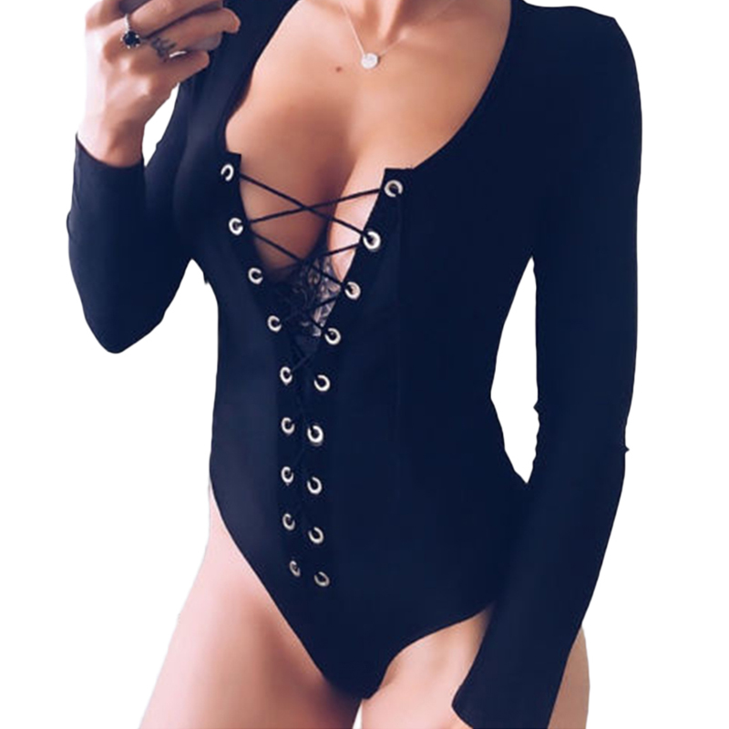 HOT Fashion Sexy Women Clubwear Black V Neck Bandage Long Sleeve Playsuit Bodycon Party   Jumpsuit   Romper Trousers Female Bodysuit