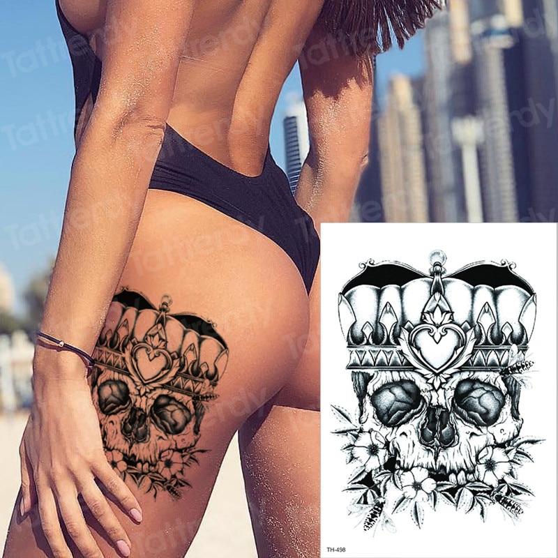 Temporary Tattoo Sticker Skull Tatoo Sexy Boys Fake Tattoo Big Vintage Temporary Tattoos Waterproof Black Death Tatto Thigh Arm