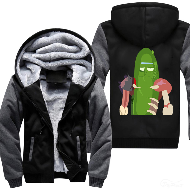 2018  New Arrival Why Are Your So Angry,Little Poor Pickle Rick Man's Thickened Fleece Jacket steetwear