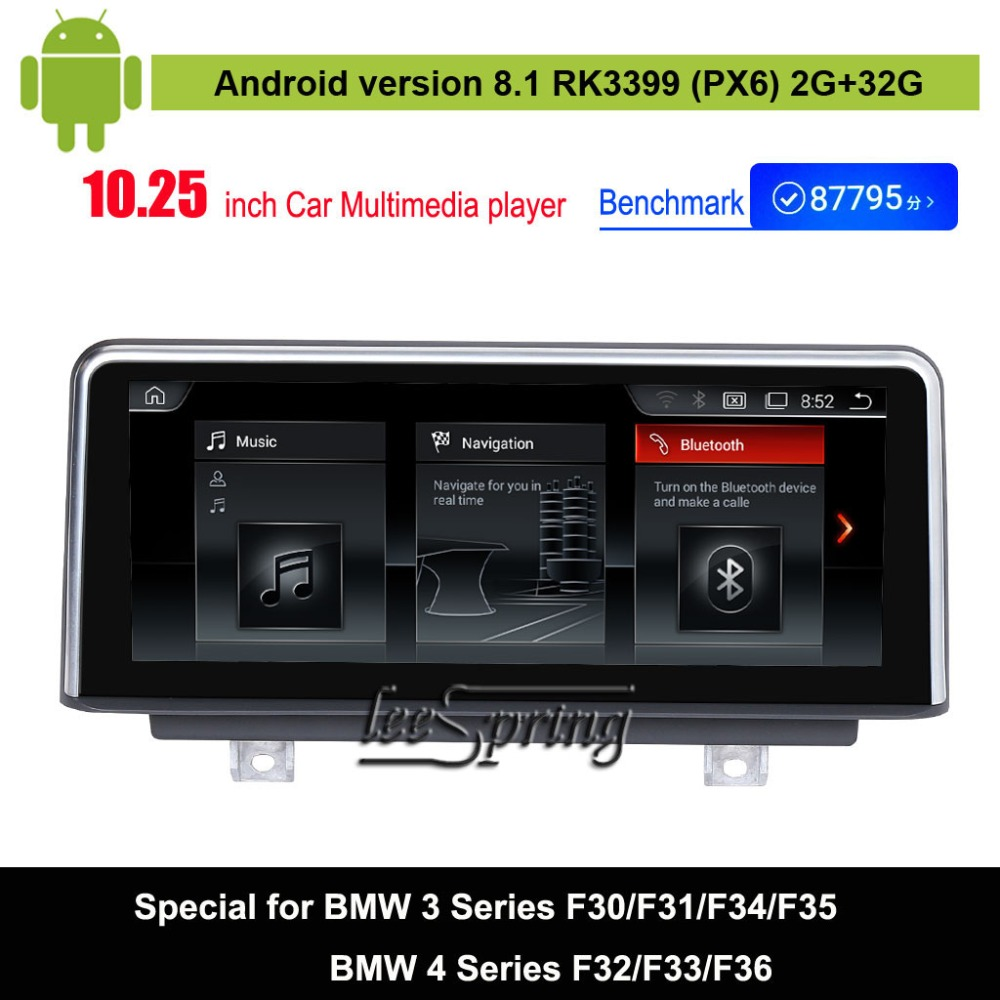 Android 8.1 Car Multimedia Player for BMW 3 Series F30/F31/F34/F35/BMW 4 Series F32/F33/F36(2013-2016) Auto GPS Navigation carbon fiber auto front lip splitter flags for bmw 4 series f32 f33 435i m sport coupe