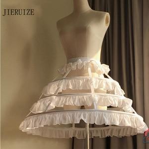 Image 1 - JIERUIZE Lolita สั้นที่ไม่ซ้ำกัน Petticoat บอลชุดคอสเพลย์กระโปรง 3 ห่วง Ruffle Rockabilly Crinoline อุปกรณ์จัดงานแต่งงาน