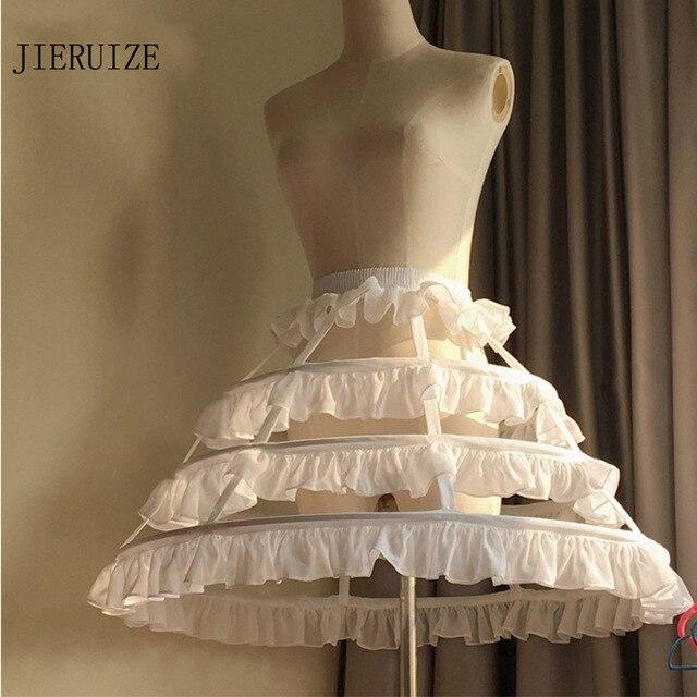 JIERUIZE Lolita สั้นที่ไม่ซ้ำกัน Petticoat บอลชุดคอสเพลย์กระโปรง 3 ห่วง Ruffle Rockabilly Crinoline อุปกรณ์จัดงานแต่งงาน