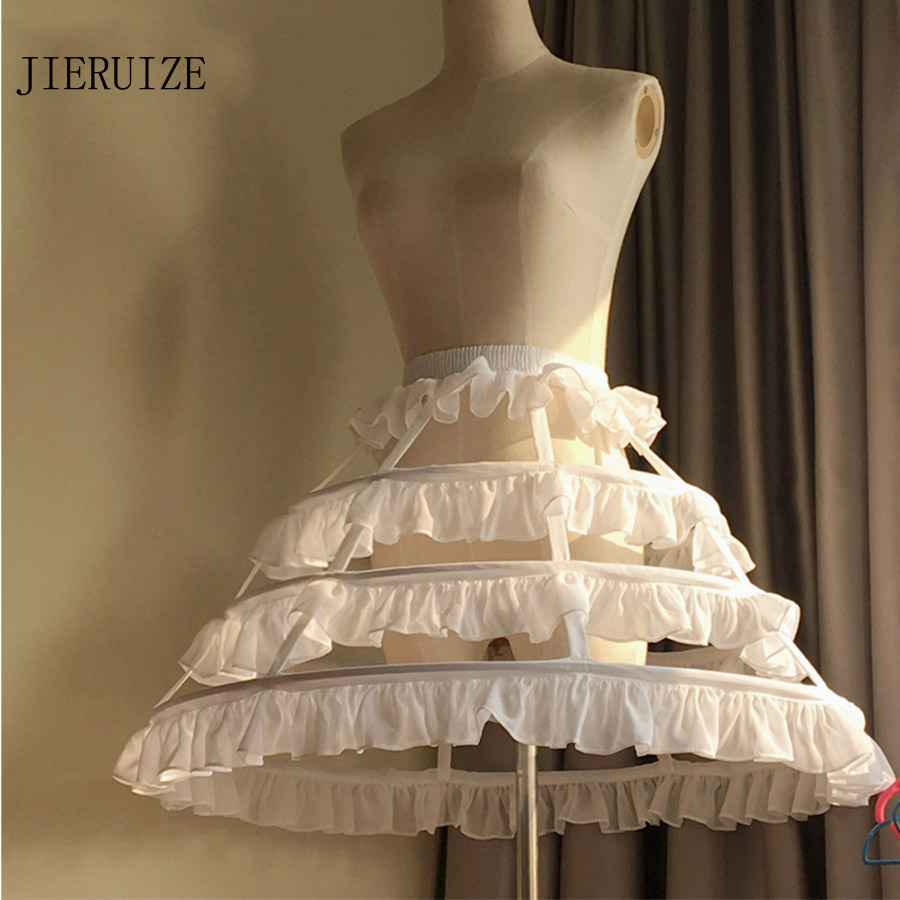 JIERUIZE Lolita Short Unique Petticoat Ball Gown Cosplay Underskirt 3 Hoops Ruffle Rockabilly Crinoline Wedding Accessories