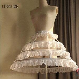 Image 1 - JIERUIZE Lolita Short Unique Petticoat Ball Gown Cosplay Underskirt 3 Hoops Ruffle Rockabilly Crinoline Wedding Accessories