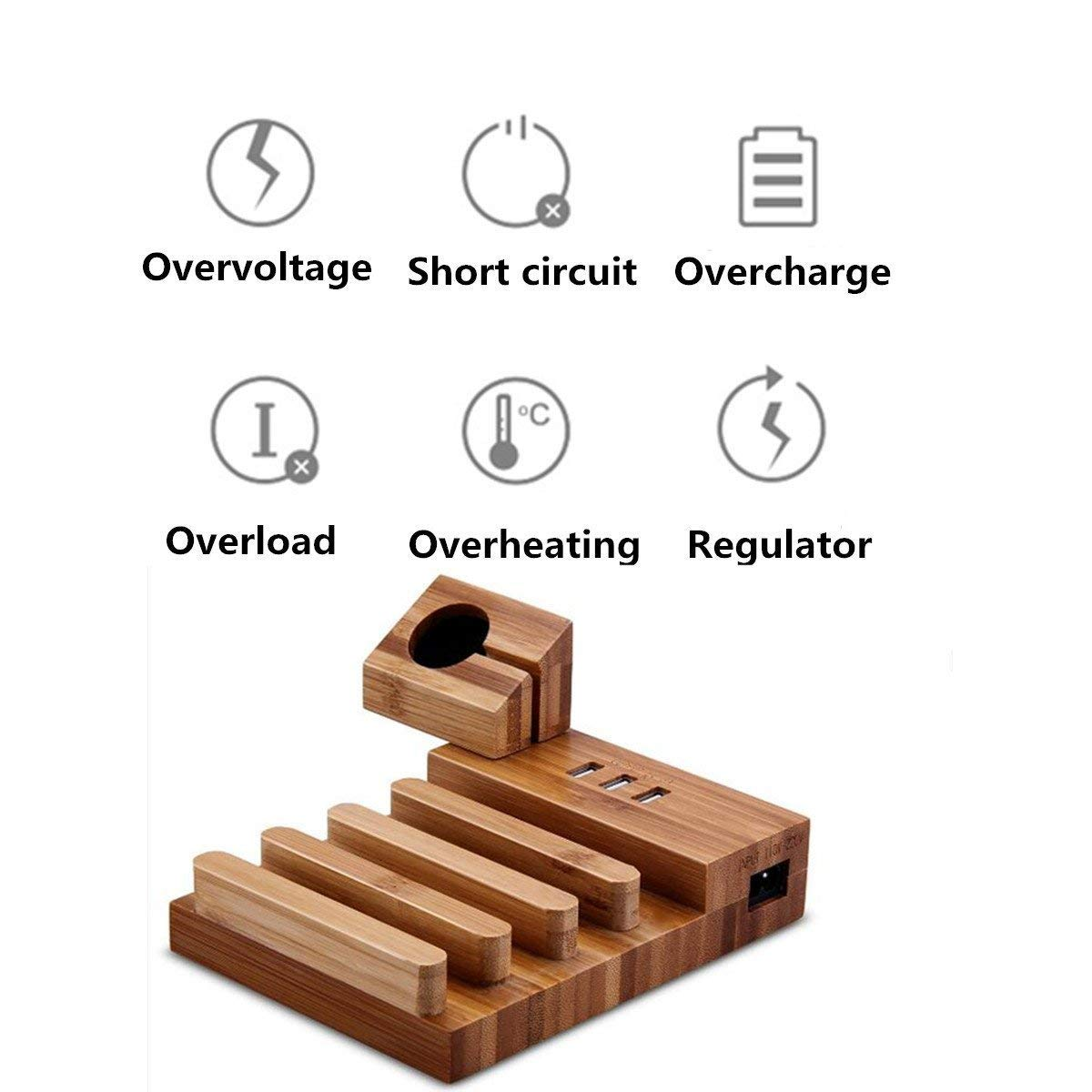 Image 2 - USB Charging Station Bamboo Wood Tablet Charger Multi USB Charging Dock Magnet Watch Charging Stand 3 USB Ports 5V/3A for Phone-in Mobile Phone Chargers from Cellphones & Telecommunications