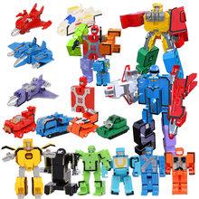 5pcs Digit Number Transformation Robot Blocks Bricks Toys Set for Boys 2018 New baby educational learning toys Blocks Robot Toys(China)