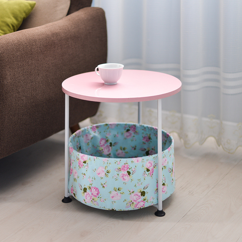 Modern Round Bedside Foldable Coffee Table With Washable Cloth Storage Container Simple Modern Corner Desk
