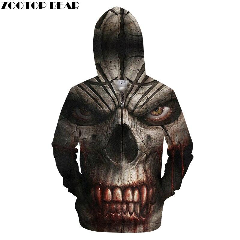 Skull 3D Zipper Hoodie Groot Zip Hoody Men Tracksuit Casual Sweatshirt Long Sleeve Coat 2018 HipHop Pullover DropShip ZOOTOPBEAR