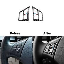 Автомобильные наклейки с кнопкой управления на рулевое колесо, отделка из настоящего углеродного волокна для BMW e90 e92 e93 3 серии 2005-2012, автомобильные аксессуары