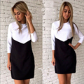 Elegant White Black Patchwork Office Dress Women Summer Fashion Casual There Quarter Sleeve OL Tunic Dresses 2017 robe femme